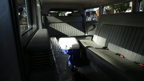 Ford Luxury Limousine interior. Guildford, Swan Valley, West Australia - December 2017: interior of Luxury Limousine Ford Model A used for wedding services. An stock video