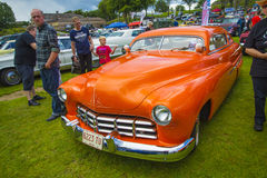 1950 ford mercury coupe. The image is shot at Fredriksten fortress in Halden, Norway during the annual classic car event stock photography