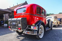 Ford model A, 1931, old-timer car. VLODROP, NETHERLANDS - AUGUST 19, 2018: Old-timer car Ford Model A, 1931, parking on a public parking spot stock photo