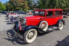 Ford model A, 1931, old-timer car. VLODROP, NETHERLANDS - AUGUST 19, 2018: Old-timer car Ford Model A, 1931, parking on a public parking spot royalty free stock image
