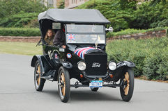 Ford Model-T convertible from Britain arrives at finish of Stock Photos