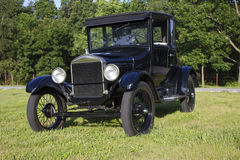 1927 Ford Model T Coupe. Front and side view of an antique Ford automobile.  All original, restored car Royalty Free Stock Photos