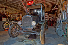 1925 Ford Model TT. Grunge 1925 Ford Model TT truck. parked in a preserved vintage garage at Heritage Village in Largo, Florida. Cost of the truck back in 1925 Stock Images