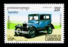 Ford modelt 1927, Oude auto's serie, circa 1994 Stock Afbeelding