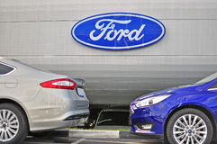 Ford Mondeo cars and logo of Ford corporation Royalty Free Stock Photos