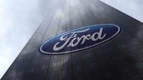 Ford Motor Company logo på reflekterande moln för en skyskrapafasad Redaktörs- tolkning 3D Arkivbilder