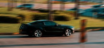 Ford Mustang accelerating on Barranquilla stock photo