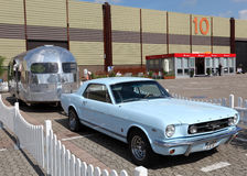 Ford Mustang with Airstream caravan Stock Image