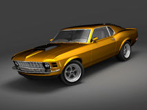 Ford Mustang Boss 1. 3D render of American Muscle Car over a gray background Royalty Free Stock Images