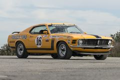 1970 ford mustang boss 302 race car. Picture of vintage ford mustang boss 302 race car in display before the race during the U.S vintage grand prix at watkins royalty free stock photography