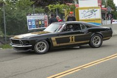 1969 ford mustang boss 302 race car. Picture of vintage ford mustang boss 302 race car in preparation before the race during the U.S vintage grand prix at royalty free stock photos