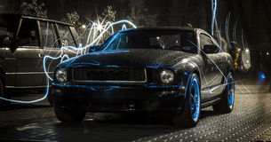 Ford Mustang Bullitt. Ford Mustang Bulitt, taken with long exposure stock image