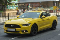 Ford mustang car in Hong Kong. The Ford Mustang is an American car manufactured by Ford. It was originally based on the platform of the second generation North royalty free stock image
