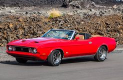 1973 Ford Mustang. Convertible at muscle cars event in Iceland stock images