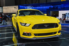 Ford Mustang coupe at the Geneva Motor Show. Ford Mustang coupe on display during the Geneva Motor Show, Geneva, Switzerland, March 4, 2014 Royalty Free Stock Image