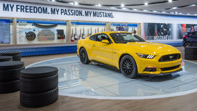 2016 Ford Mustang. DETROIT, MI/USA - JANUARY 12, 2016: Ford Mustang car at the North American International Auto Show (NAIAS), one of the most influential car stock images