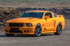 Ford Mustang GT Saleen. Photo of a 2006 Ford Mustang GT Saleen car at drag racing event in Iceland 2012 royalty free stock photography