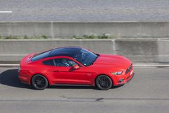 Ford Mustang on the highway Royalty Free Stock Image