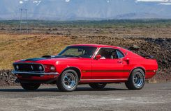 1969 Ford Mustang Mach1. Photo of a 1969 Ford Mustang Mach 1 muscle car at drag racing event in Iceland 2012 stock image