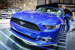 Ford Mustang, Motorshow Geneve 2015 Stock Afbeeldingen