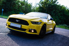 2017 Ford Mustang - Triple Yellow Stock Photo