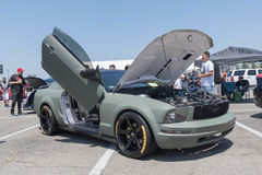 Ford Mustang 5th generation on display during DUB Show Tour. Anaheim, USA - August 13, 2017: Ford Mustang 5th generation on display during DUB Show Tour - Angel royalty free stock photos