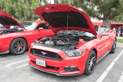 Ford Mustang 6th generation on display. Torrance, USA - May 5 2017: Ford Mustang 6th generation on display during 12th Annual Edelbrock Car Show royalty free stock images