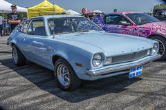 Ford pinto. Sanair august 9, 2014 front side view of ford pinto pastel blue at 19e super ford show Royalty Free Stock Photo