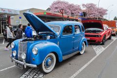A 1949 Ford Prefect at an outdoor car show royalty free stock image