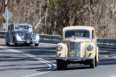 1949 Ford Prefect Sedan. Adelaide, Australia - September 25, 2016: Vintage 1949 Ford Prefect Sedan driving on country roads near the town of Birdwood, South Stock Photography
