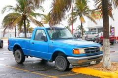 Ford Ranger. Coatzacoalcos, Mexico - June 2, 2017: Cyan pickup truck Ford Ranger in the city street Royalty Free Stock Photos
