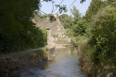 Ford through river at Lacock. Wiltshire. England Stock Photos