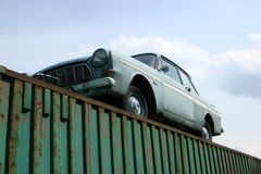 Classic American Car Ford Taunus. An old vintage Ford Taunus for sale standing on a container Royalty Free Stock Photography