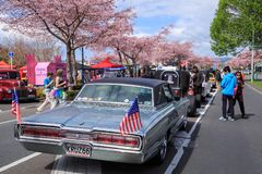 A 1966 Ford Thunderbird at an outdoor car show royalty free stock images