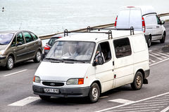 Ford Transit. BUDAPEST, HUNGARY - JULY 23, 2014: White cargo van Ford Transit in the city street Stock Image