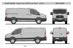 Ford Transit Cargo Van SWB Low Roof L2H1 2014-2018. Ford Transit Cargo Van Short Wheel Base, Low Roof, L2H1 2014-2018 detailed template for design and production stock illustration