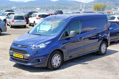 Ford Transit Connect. SAINT-TROPEZ, FRANCE - AUGUST 3, 2014: Blue cargo van Ford Transit Connect at the city street Stock Photography
