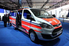 Ford Transit Custom Van. HANNOVER - SEP 20: New Ford Transit Custom Van as emergency vehicle at the International Motor Show for Commercial Vehicles on September Stock Photography