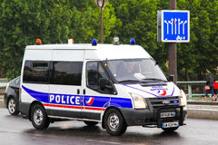 Ford Transit. PARIS, FRANCE - AUGUST 8, 2014: Police van Ford Transit at the city street Stock Images