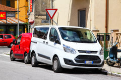 Ford Transit. PISA, ITALY - JULY 31, 2014: White van Ford Transit in the city street Royalty Free Stock Photos