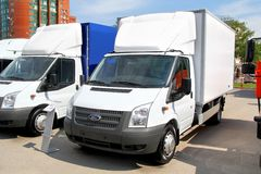 Ford Transit. UFA, RUSSIA - MAY 15, 2012: White Ford Transit light cargo van at the city street Stock Image