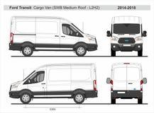 Ford Transport Ładunek Van SWB Środek dach L2H2 2014-2018 royalty ilustracja