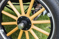 Ford truck t1 flatbed 1923 wooden spoke wheel hub. Classic car show antique vintage stock image