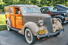 1936 Ford V8 Woody Station Wagon Royalty-vrije Stock Foto's