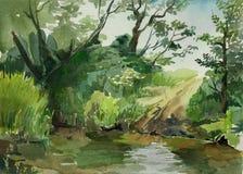 Ford w strumień akwareli sztukę ilustracji