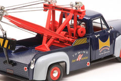 Ford Wrecker 1953. 1953 Ford F-100 Wrecker, Yatming Road Legends 1:18 scale diecast, right rear detail view Royalty Free Stock Photos