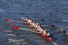 Fordham Prep Crew races in the Head of Charles Regatta Men`s Youth Eights Stock Image