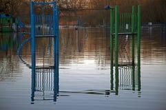 Fordingbridge Park Floods 2014. Fordingbridge Park Flooded in Playground 2014 Stock Photo
