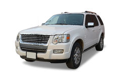 Ford SUV. White Ford Suburban Utility Vehicle with roof racks, white background royalty free stock photography