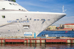 The fore of a Cruise ship moored at the English embankment. Saint Petersburg, Russia, July 26, 2015. The fore of a Cruise ship moored at the English embankment Royalty Free Stock Photography
